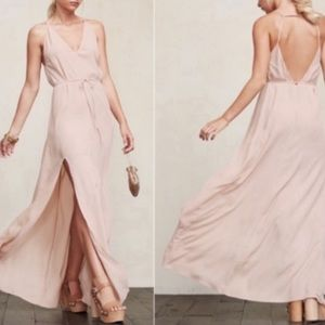 Reformation Pink Citrine Maxi Dress V Neck Slit